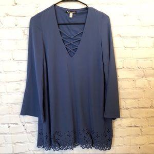 Xtraordinary long sleeved criss cross chest dress